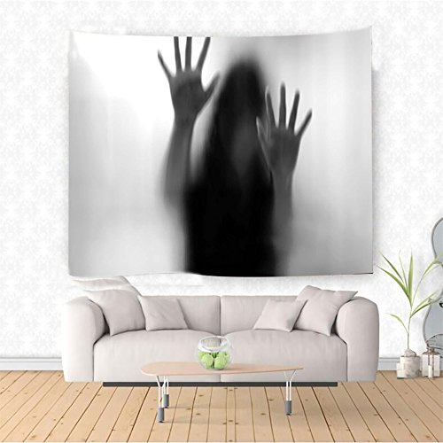 Nalahome Horror House Decor Silhouette of Woman behind the Veil Scared to Death Obscured Paranormal Photo Gray Ethnic Decorative Tapestry Blanket Wall Art Design Handicrafts 10W x 8L Inches by Nalahome