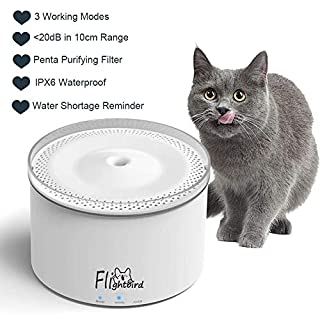 Flightbird Smart Cat Water Fountain, 3 Modes 5-Stage Purification Filter,IPX6 Waterproof Water Shortage Alert Water Purifier,Pet Water Dispenser Feeder Bowl for Cat,Small Dog (2L) (Fountain)