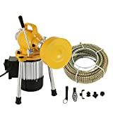 Mophorn 3/4''-4'' Sectional Pipe Drain Cleaning Machine 400PRM Snake Cleaner Pipe Drain Cleaning Machine with 66' x 3/5'' Cable and 16' x 3/10'' Cable (Yellow Color)