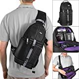 Altura Photo Camera Sling Backpack for DSLR and Mirrorless Cameras (Canon Nikon Sony Pentax) w/ MagicFiber Microfiber Lens Cleaning Cloth