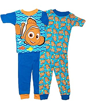 Finding Nemo Little Boys Toddler 4 Pc Cotton Pajama Set