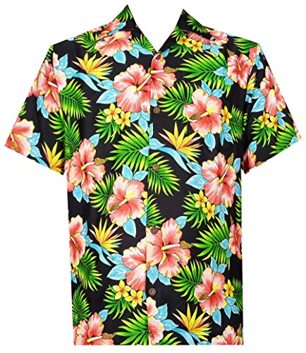 Hawaiian Shirt Mens Allover Flower Beach Aloha Party Casual Holiday Short Sleeve