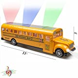 Bump And Go Action Yellow School Bus – Beautiful 3D Flashing Lights And Musical Sounds – Great For Kids 3 & Up – (Batteries Required)