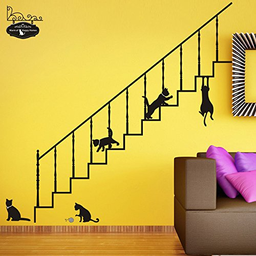 Large Size Cartoon Cats Stairs Wall Stickers Kid's Room Nursery School Removable Home Decals PVC Art Decoration Mural Wall Decal Home Decor Bedroom Sitting Room Window Sofa TV Background Vinyl DIY Art Decals (Disney Halloween Cartoons 80's)
