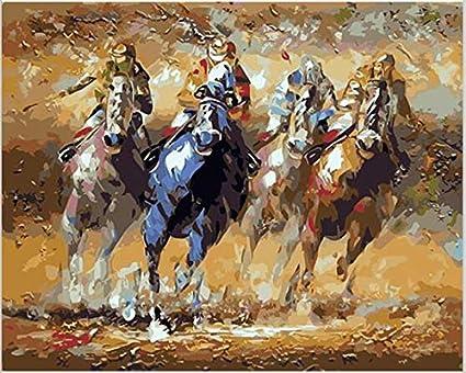 REDWPQ Quadri modulari Dipinto sul Muro Immagini della Parete della Corsa di Cavalli per Soggiorno Pittura Fai-da-Te con Numeri Kit Arte acrilica 50X65Cm con Cornice