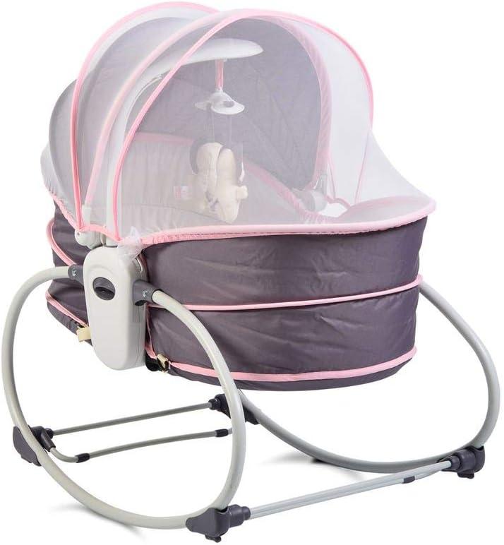 Moni hamaca de bebé Ava 5 en 1 con función de música vibración protección solar mosquitera, color:púrpura