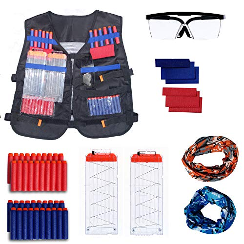 r Nerf Guns, Includes Red/Blue Team Indicators, Tactical Glasses, 2 Face Tube Masks, 2 Quick Reload Clips, and 40 Darts ()
