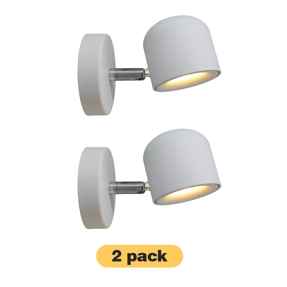 2 Packs! Aisilan Modern Adjustable Surface Mounted Wall Lamps LED Fixture Warm White Ceiling Spot Accent Light for Hallway Gallery Display Kitchen Bedroom (7W 3000K) BD-22-W-7W-3Kx2