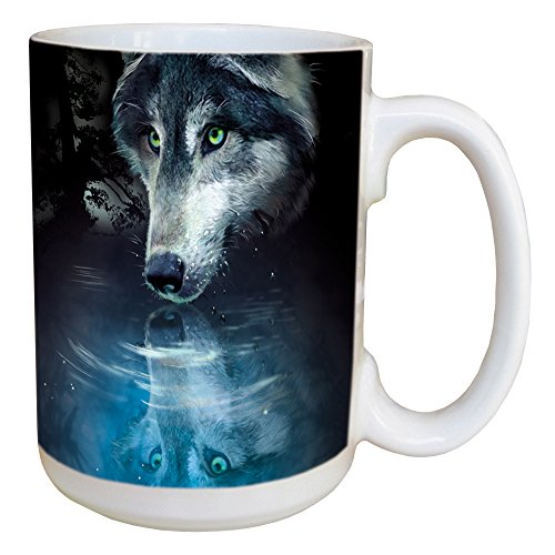 (Tree-Free Greetings LM46270 Wolf Reflection 15 Ounce Ceramic Coffee Mug with Full Sized Handle)