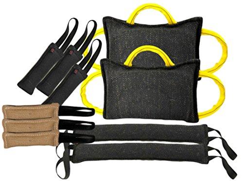 Tug Toy Bundle - 2 - 3 Handle Bite Pillows, 2 - 4'' X 24'' Tugs 2 Handle, 3 - 3'' X 10'' Tug Toys 1 Handle French Linen, 3 - 3'' X 10'' 1 Handle Jute Tugs - Redline K9 by RedLine K9