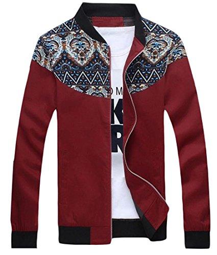 Zago Mens Jacket Stylish Classic Short Elegant Stitch Trench Coat Wine Red 4XL