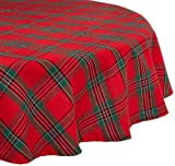 "DII 70"" Round Cotton Tablecloth, Holiday Plaid - Perfect for Dinner Parties, Christmas, Holidays, or Everyday use"
