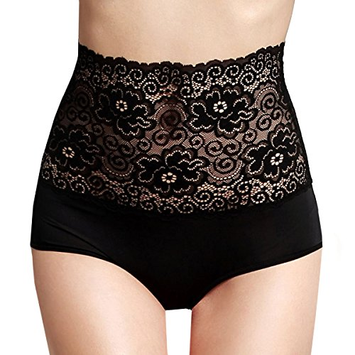 Eve's Temptation Aubree Floral High Waist Panties Premium Soft Stretchy Lace Comfortable Sexy Underwear for Women True Black Large
