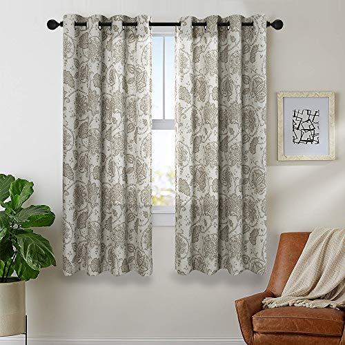 (Paisley Scroll Printed Linen Curtains Grommet Top Room-Darkening Medallion Design Jacobean Floral Printed Burlap Vintage Living Room Window Treatment Set (Taupe, 52