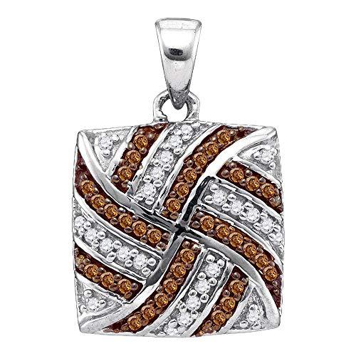 Jewel Tie Solid 10k White Gold Round Chocolate Brown Diamond Square Pendant (1/4 Cttw.)