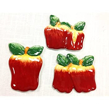 Tuscan Hand Painted Set of 3 Assorted Apple Magnets 3-3/4