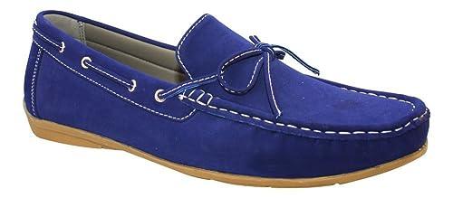 WS Mocasines tipo náutico de ante para hombre - Roberto, Azul (azul),