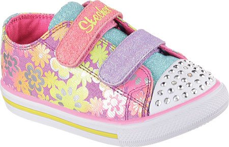 Skechers Kids Baby Girl's Chit Chat Glint and Gleam Lights 10480N (Toddler) Purple/Multi Sneaker 7.5 Toddler M (Chat Light)