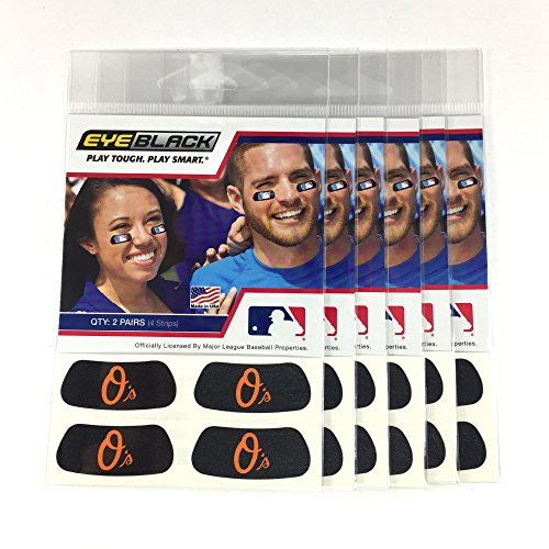 - (24 Strips) Eye Black - Baltimore Orioles MLB Eye Black Anti Glare Strips, Great for Fans & Athletes on Game Day