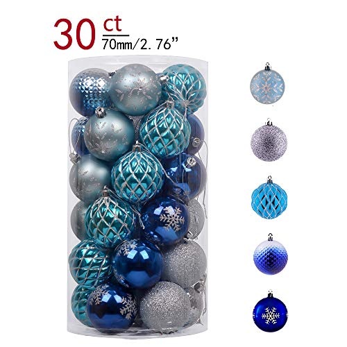 (Teresa's Collections 30ct 70mm Winter Land Silver and Blue Shatterproof Christmas Ball Ornaments Decoration for Christmas Tree)