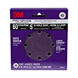 3M Pro Grade Sanding Disc, 8-Hole, 60 Grit, 5-Inch, 10-Count