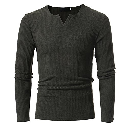 Men V-Neck Sweaters Tops Autumn Winter Casual Slim Blouse