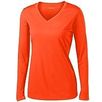Ladies Long Sleeve Moisture Wicking Athletic Shirts Sizes XS-4XL