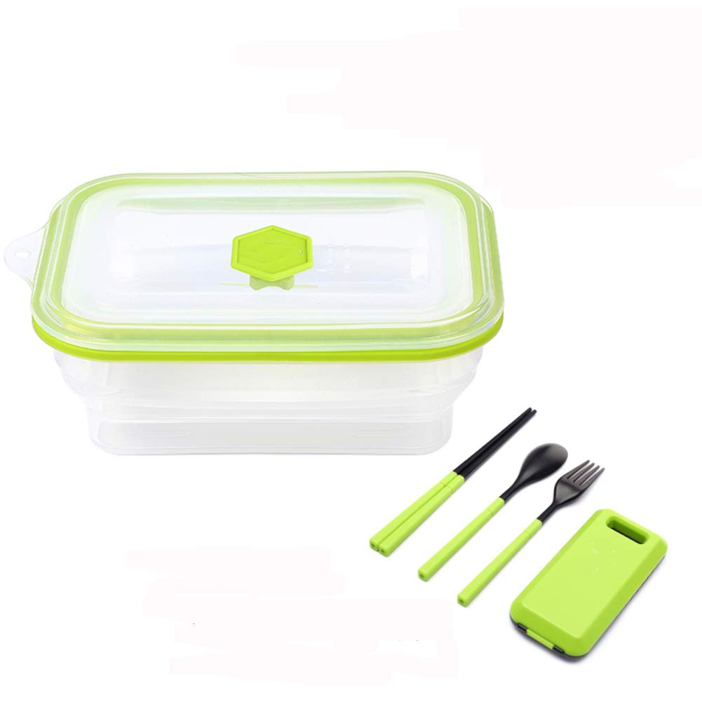 KnvcDey Silicone Collapsible Bowl,Camping Hiking Portable Travel Food Storage containers Lunch bento Box bpa Free Space-Saving-Green 600ml by KnvcDey