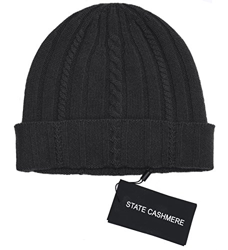 State Cashmere 100% Pure Cashmere Cable Knit Beanie Hat - Ultimate Soft,Warm and Cozy Black One - 100% Cashmere Cable