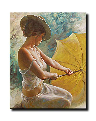 (Shukqueen DIY Oil Painting, Adult's Paint by Number Kits, Acrylic Painting-Woman Ready to Open Umbrella 16X20 Inch (Frameless))