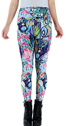 AIMY Shop Colored Flowers Pattern Printing Soft Comfortable Legging For Daily Wear (Wear Colored Tights)