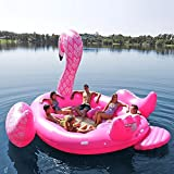 Sun Pleasure GIANT Party Bird Island Flamingo - FAST SPEED PUMP INCLUDED - Inflatable Flamingo WITH Pump And Carrying Bag - use in Lake, Ocean, River, Pool Floats for up to 6 PEOPLE - 1 YEAR GUARANTEE