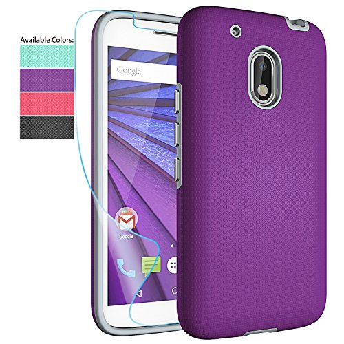 Moto G Play Case,Moto G4 Play Case with HD Screen Protector,NiuBox Dual Layer Armor Anti-Slip Shock Absorption Protective Phone Case Cover for Motorola Moto G Play/Moto G4 Play - Purple (Best Moto G4 Cases)
