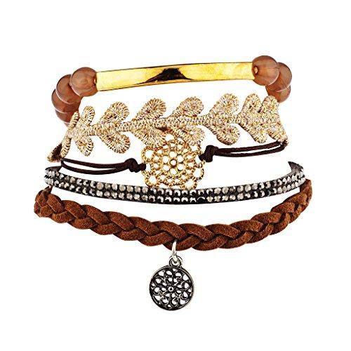 (Lux Accessories Neutrals Brown Lace Filigree Arm Candy Set (5PCS))