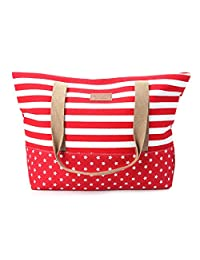 OHTOP Women Lady Stripes Messenger Beach Handbag Totes Canvas Shoulder Shopping Bag