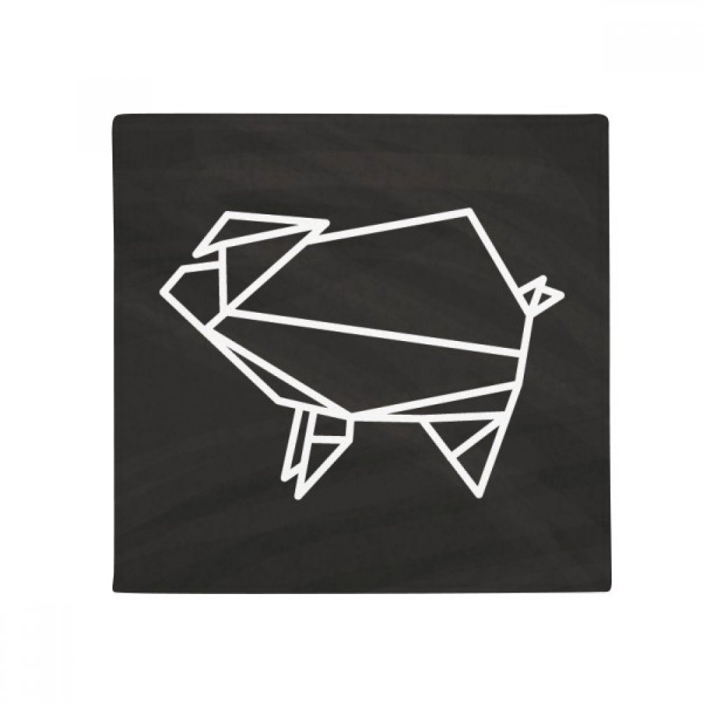 DIYthinker Abstract Origami Pig Geometric Shape Anti-Slip Floor Pet Mat Square Home Kitchen Door 80Cm Gift