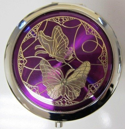 Purse Handbag Double Compact Cosmetic Mirror - Two Butterflies - Dark Purple Gift Square D¨¦cor
