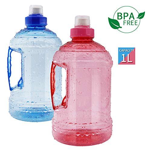 AticaSport 1L/34oz Sport Watter Jug Bottle Beverage Jug BPA Free Gym Ourdoor Portable(Blue+Red) (1 Jug Liter Water)