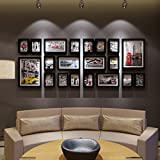 LQQGXL Living room wood combination photo wall creative bedroom large size frame background decoration Photo frame ( Color : Black )