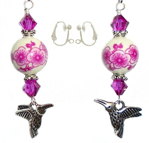 Porcelain Bead Earrings (Hummingbird Charm Fuchsia Pink Porcelain Swarovski Crystal Bead Earring Set (3. CLIP-ONS Silver Plated NIckel Free (4mm Half Ball))
