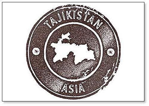 Tajikistan Map Vintage Stamp Illustration Classic Fridge Magnet