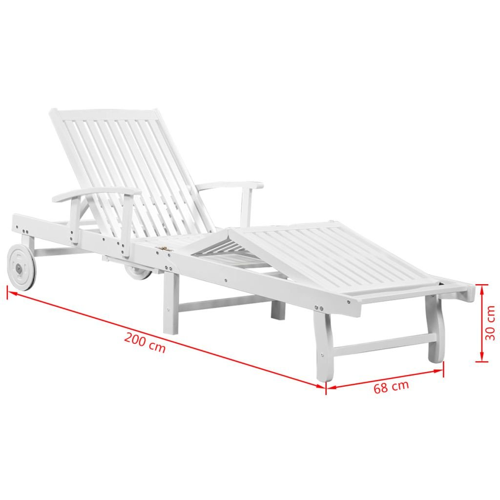 Festnight Patio Garden Chaise Lounge Solid Acacia Wood Sun Lounger With Wheels White Amazon In Home Kitchen