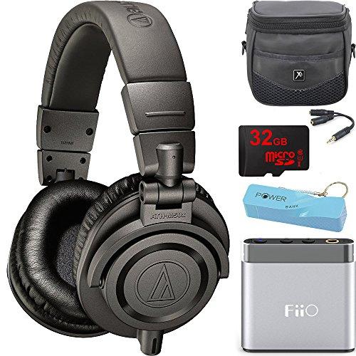 audio-technica-ath-m50x-professional-studio-headphones-gray-portable-headphone-amp-bundle-includes-h