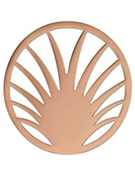 MS Koins Stainless Steel Palm Leaves Coin Rose Gold Plated Fits Our Coin Locket System, 30mm Diameter