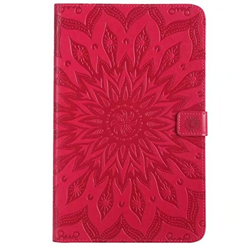SRY-1 Cuero de la PU con la ranura para tarjeta / la funda protectora del acollador de la cartera del tirón del soporte para Samsung Galaxy Tab E 9.6 (SM-T560 / T561 / T565) ( Color : Gray ) Red