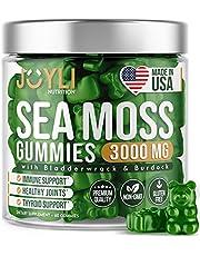 Organic Sea Moss Gummies for Adults & Kids - USA Made Irish Sea Moss Supplement - Raw Seamoss, Bladderwrack & Burdock for Immunity, Thyroid & Joints Support - 60 Non-GMO Seamoss Gummies Vegan