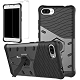 Asus Zenfone 4 Max ZC554KL Case + Screen Protector, Gzerma Hybrid Rugged [Heavy Duty] Shock Absorption Bumper Cover with Kickstand Holder and HD Clear for ASUS Zenfone 4 Max 5.5 inch, Black