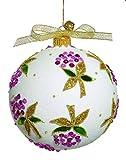 Lou Lou - JingleNog - Free blown glass lilac floral patterned Christmas tree ornament