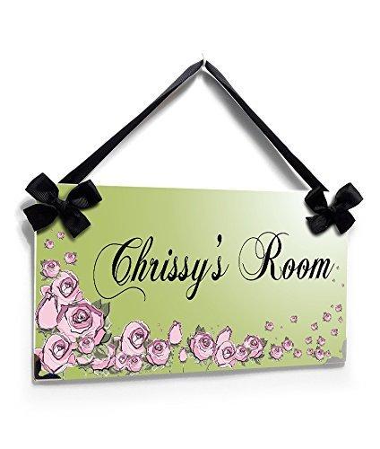 Personalized Teenager Bedroom Name Door Sign Elegant Plain Green with Pink Flowers