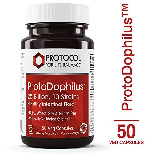 Protocol For Life Balance - ProtoDophilusTM - 25 Billion, 10 Strains - Healthy Intestinal Probiotic Flora to Support Digestive Function and Immune Health - 50 Veg Capsules